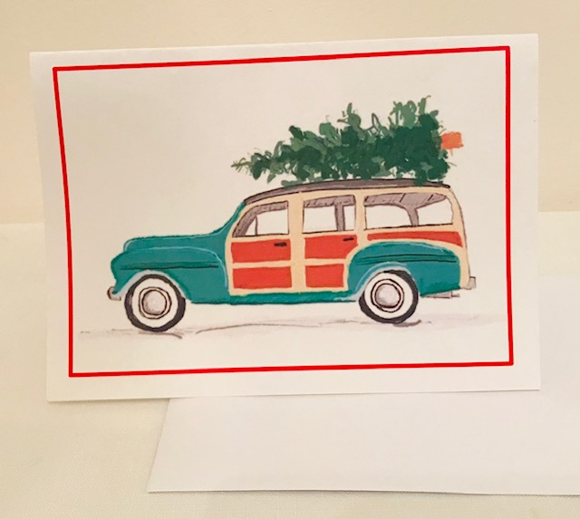 "Christmas Card | Bringing Home the Christmas Tree | Set of 12 | 5"" x 7"""