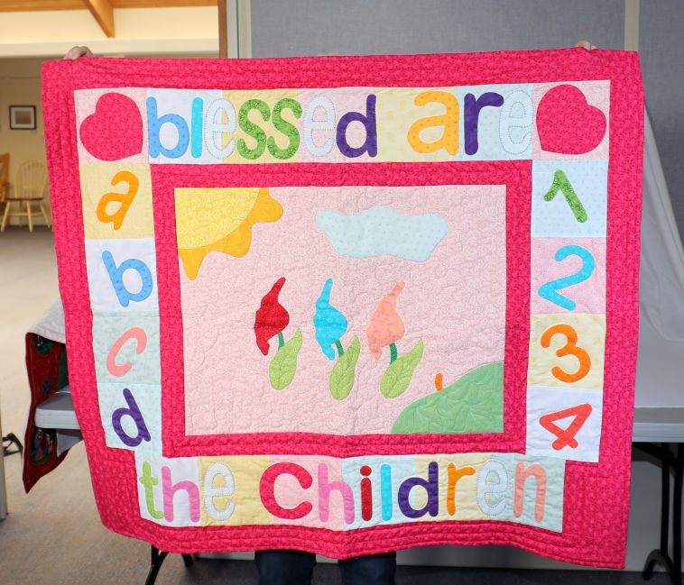 """Baby quilt, pink color, 46""""×40"""", theme Blessed Are the Children"""