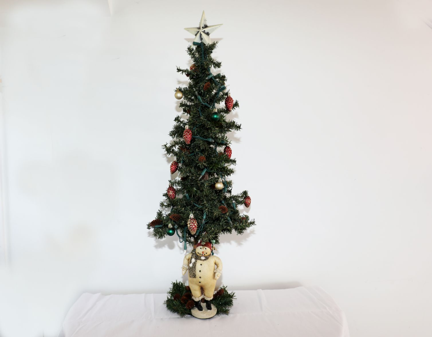 Tabletop Tree with Snowman, Tree is Plug Lighted | 39 inches