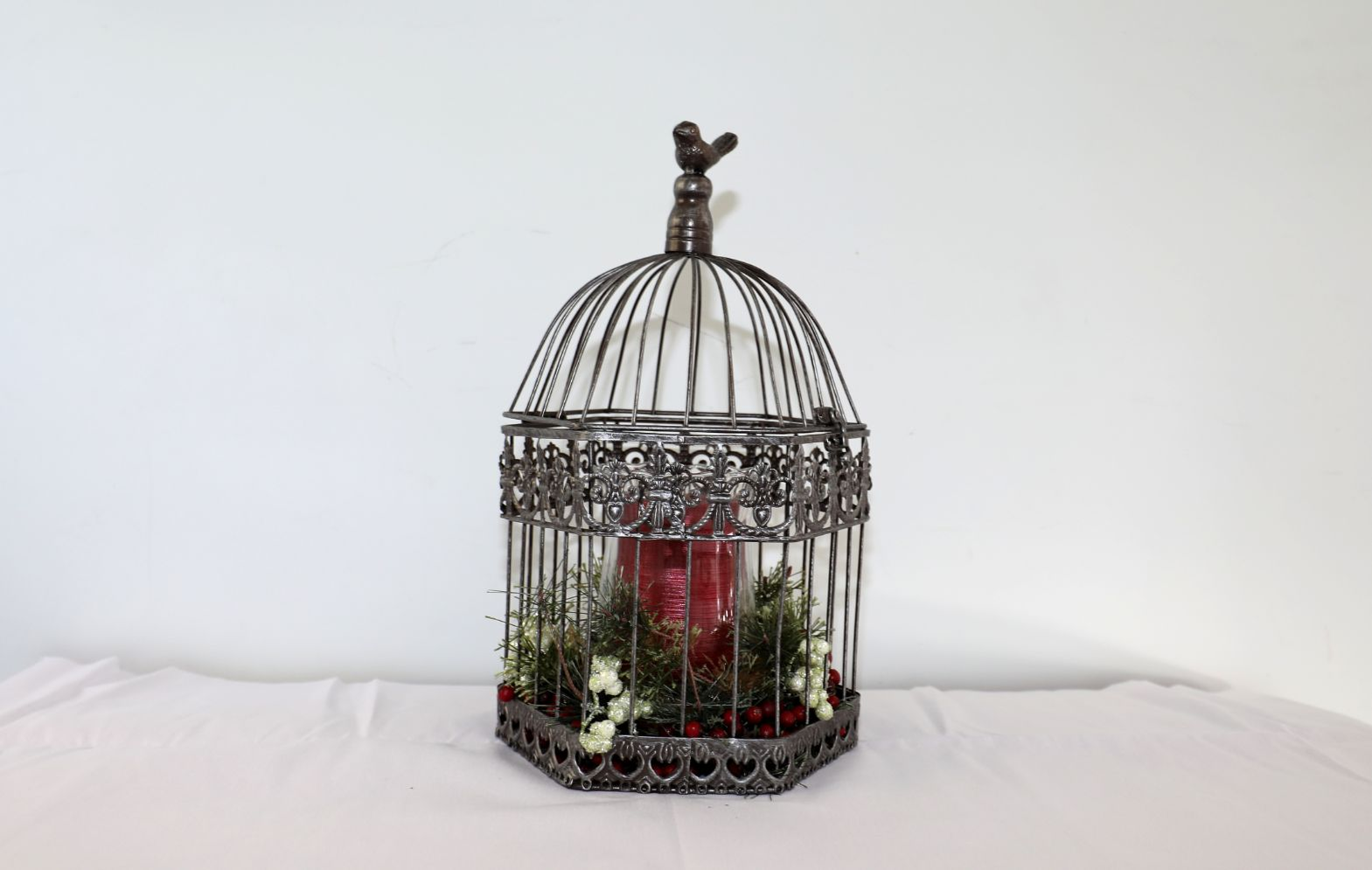 Decorative Birdcage with Candle and Greens