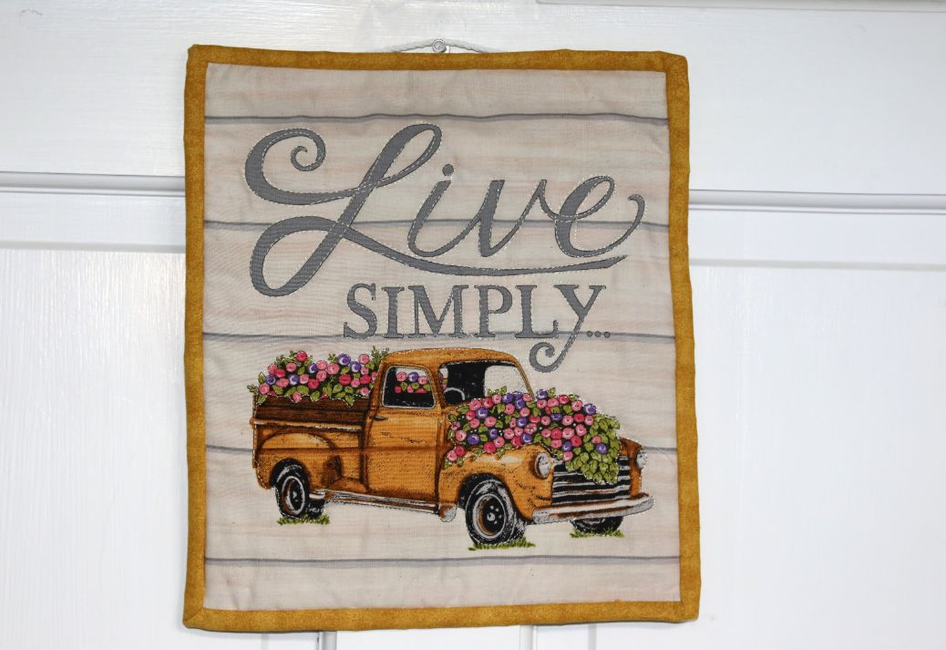 Square Quilted Wall Hanging, Live Simply | 10 inches
