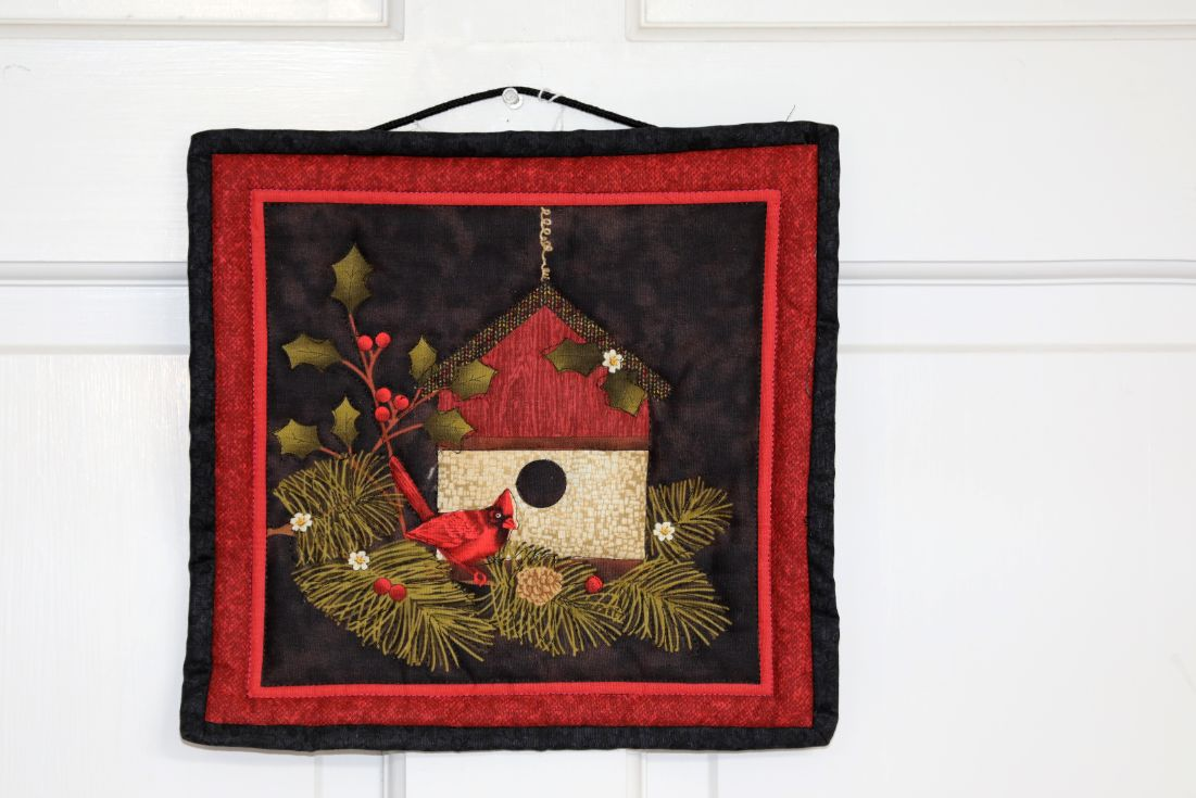 Square Quilted Wall Hanging, Birdhouse with Cardinal |10 inches