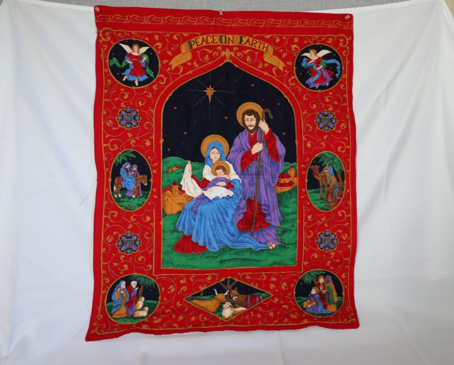 """Quilted Wall Hanging, Peace on Earth 
