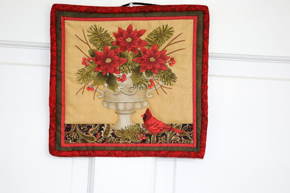 Square Quilted Wall Hanging, Poinsettia Urn with Cardinal | 10 inches