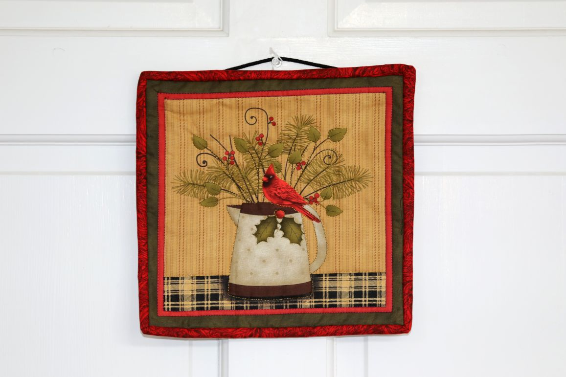 Square Quilted Wall Hanging, Cardinal and Pitcher | 10 inches