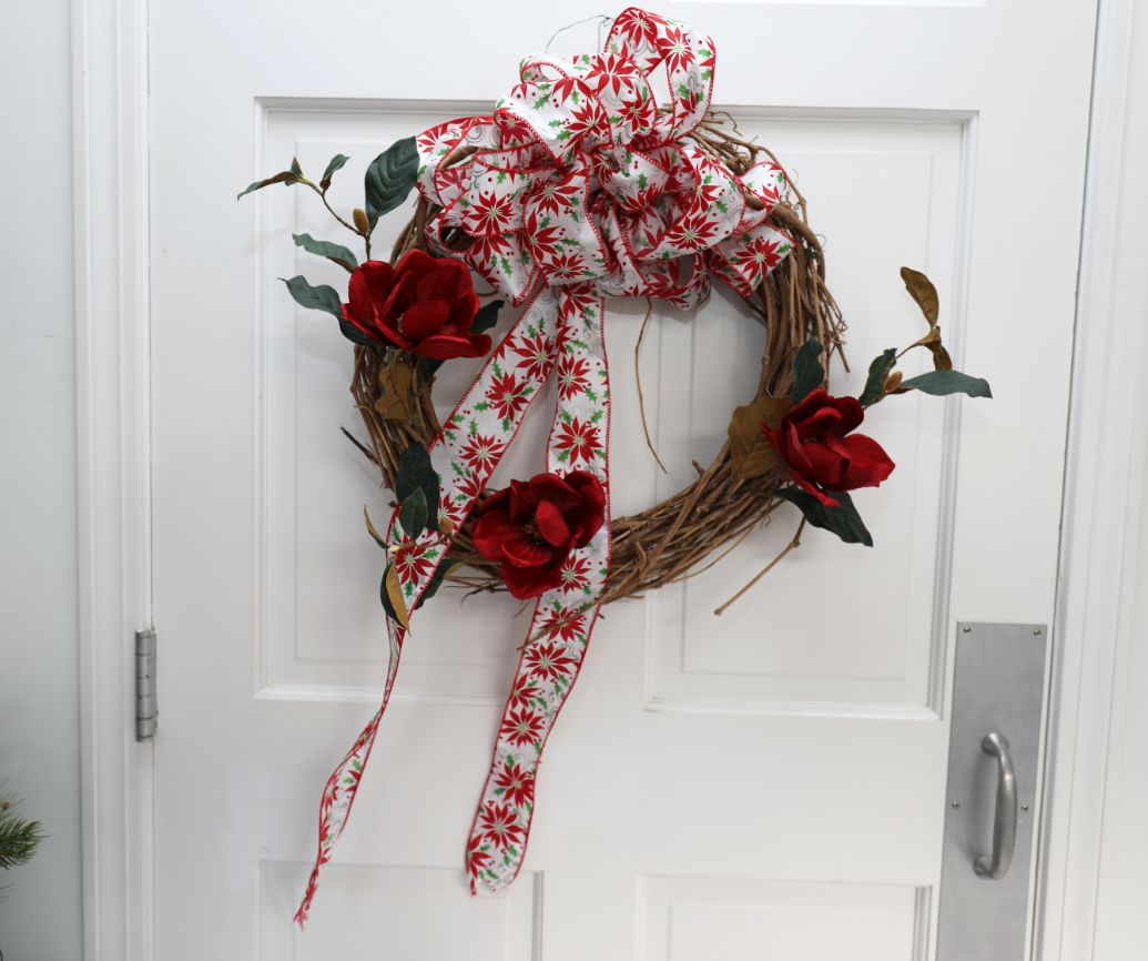 Grapevine Wreath with Red Flowers and Poinsettia Print Bow | 19 inch